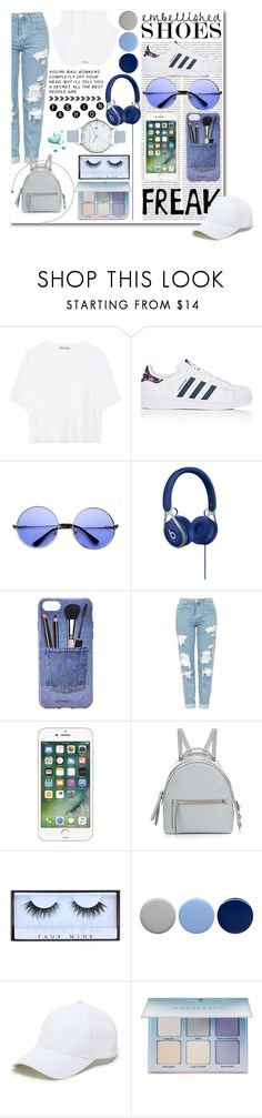"""""""Feeling Blue"""" by paulahastings on Polyvore featuring Oris, Vince, adidas, ZeroUV, Iphoria, Topshop, Fendi, Huda Beauty, Burberry and Sole Society"""