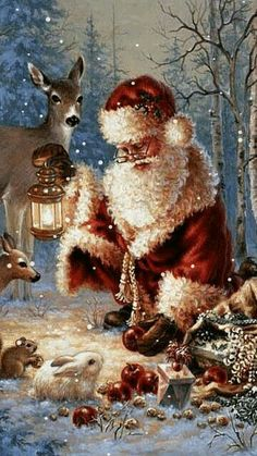 Beautiful Father Christmas and his furry friends
