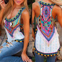 Fashion Sexy Women Summer Vest Crop Top Plus Size Sleeveless Shirt Geometric Print Casual Tops T-Shirt S-5XL #Cheap #Tees