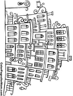 "City Coloring Page 12 | free sample | Join fb grown-up coloring group: ""I Like to Color! How 'Bout You?"" https://m.facebook.com/groups/1639475759652439/?ref=ts&fref=ts"
