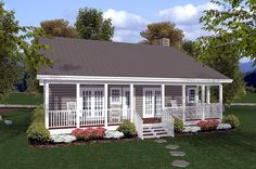 Love this simple house plan with both front and back porches.