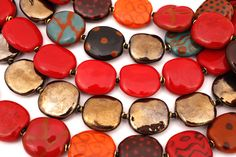 Beautiful Kazuri beads handmade from earthen clay and fired and hand painted by Kenyan women