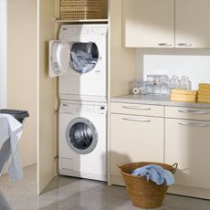 Stacked Washing Machine And Dryer In A Closet Where They Belong