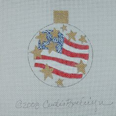 THE AMERICAN FLAG ORNAMENT Handpainted needlepoint by  CURTIS BOEHRINGER