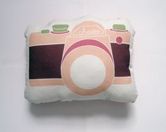 Camera Plush / Pillow in Dusty Pink, Dusty Purple and Olive Green by Yellow Heart Art