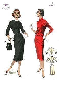 Vintage Sewing Pattern Peter Pan Blouse Wiggle Pencil Skirt B Skirt Patterns Sewing, Vintage Sewing Patterns, Clothing Patterns, Pattern Skirt, Paper Patterns, Clothing Styles, 1950s Fashion, Vintage Fashion, Contrast Collar