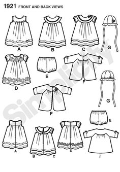Items similar to OUT of PRINT Simplicity Pattern 1921 Babies' Dress & Separates on Etsy Hat Patterns To Sew, Simplicity Sewing Patterns, Baby Patterns, Sewing Baby Clothes, Baby Sewing, Baby Prints, Baby Dress, Toddler Dress, Kids Wear