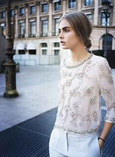 beaded blouse l cara delevingne.