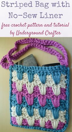 Striped Bag with No-Sew Liner from Underground Crafter - A handy little purse with a fun stitch pattern ... FREE crochet pattern! Get the link for this pattern and more at Hookin' on Hump Day. #crochet #fiber