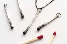 Silver Matchstick Necklaces - SunGalleryandGifts' Match Necklace is a Striking Jewelry Piece (GALLERY)