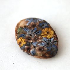 Wildflower Bead Polymer Clay Bead Textured Focal by tooaquarius, $6.00