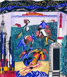 New Jersey, from the United States Series  1946 Jacob Lawrence, born Atlantic City, NJ 1917-died Seattle, WA 2000 watercolor, gouache, and pencil on paper sheet: 24 1/8 x 20 in. (61.2 x 50.9 cm) Smithsonian American Art Museum, Gift of Container Corporation of America