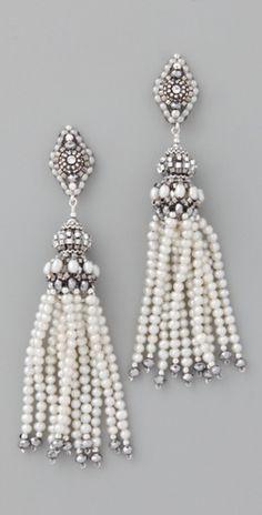 Miguel Ases - Pendientes de perlas de cuarzo con pirita borla