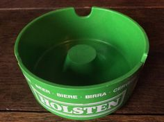 Vintage French Green Holsten Beer Bier Cigarettes Ashtray Purchase in store here http://www.europeanvintageemporium.com/product/vintage-french-green-holsten-beer-bier-cigarettes-ashtray/