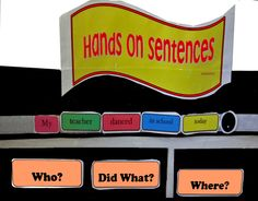 "Hands on Sentences: Interactive Word Wall Students use Velcro-backed word cards to build and expand sentences. Support understanding of sentence structure and ""wh"" questions with hands on fun. This printable will allow you to create a word wall with detachable words, color coded according to parts of speech. Also includes convenient pockets to store follow up activities. Make it as complex or as simple as per student needs. http://www.speech2teach.com/#!hands-on-sentences/c1zj"