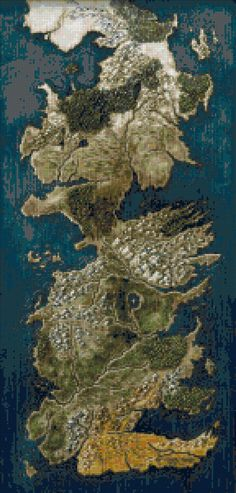 Full map of Westeros cross stitch pattern on this board. It is massive and has more than 50 colours. But who knows... maybe one day.