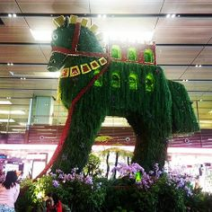 Singaporeans have Trojan Horse in Changi Airport Terminal 1, and the flowers are all soooo fucking real!