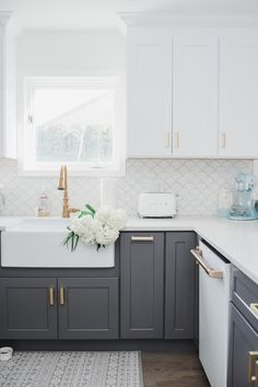 My White & Gold Kitchen with Cafe Appliances Check out my white and gold cozy coastal kitchen and my Kitchen Cabinet Colors, Farmhouse Kitchen Cabinets, Kitchen Redo, Home Decor Kitchen, Kitchen Interior, Home Kitchens, Dark Grey Kitchen Cabinets, Two Toned Cabinets, Coloured Kitchen Cabinets