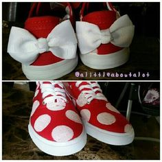alittleaboutalot: DIY Minnie Mouse sneakers @Mandy Williams.  I'm on the hunt now, I need your girl's shoe sizes.