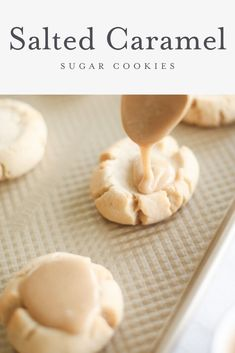 Amazing salted caramel sugar cookie recipe - a soft sugar cookie base with a brown sugar caramel icing that will be the hit of your next cookie exchange! Make them Chocolate Salted Caramel . substitute some of the flour for cocoa powder. Soft Sugar Cookies, Sugar Cookies Recipe, Yummy Cookies, Soft Cookie Recipe, Cream Cookies, Party Cookies Recipe, Sugar Cookie Cakes, Sugar Cookie Frosting, Almond Cookies