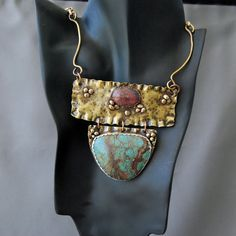 Suuper love! Maybe if the turquoise were less patterned... Unique Turquoise Necklace by cyndiesmithdesigns on Etsy