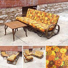 #Vintage #Rattan 3 Piece Sofa In #PopMod Colors-Info @Link Below   Rocket Century  - St. Louis, MO
