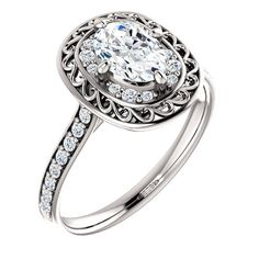 0.75 Ct Oval Diamond Engagement Ring 14k White Gold – Goldia.com