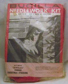 VTG 1950's BUCILLA Needlework Kit Jeweled Reindeer Christmas Stocking # 8916 | eBay