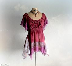 Burgundy Lace Top Shabby Gypsy Shirt by BrokenGhostClothing