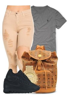 """""""Don't play around. I know you neva had It like this."""" by bria-myell ❤ liked on Polyvore featuring Ralph Lauren, MCM, Michael Kors and NIKE"""