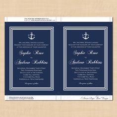 Nautical Wedding Invitations Navy White Stripes by BrownPaperMoon