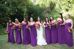 Fall colors - plum and purple long bridesmaids dresses - grey groomsmen suits - purple and grey - pink and purple wedding bouquet