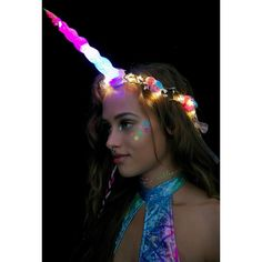 J Valentine Unicorn Queen Light-Up Flower Crown ($68) ❤ liked on Polyvore featuring accessories, hair accessories, purple hair accessories, purple garland, rose flower crown, flower hair accessories and floral garland
