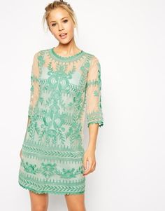 Image 1 ofASOS Premium Shift Dress with Embroidery