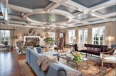 French Living Room Blue accent colors and painted ceiling