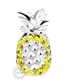 Pineapple circle tropical Watercolour art print by corejewellery, $15.00