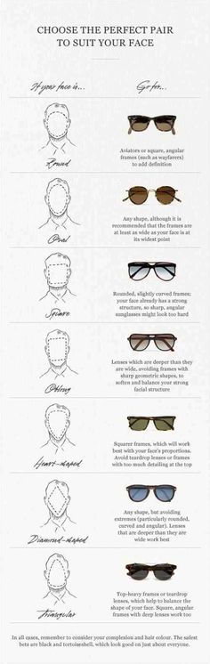 "Sunglasses and face shape. | 36 Essential ""Manly"" Life Hacks That Every Person Should Know. DavidShadpour.com"