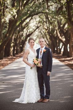 Meg & Sam | Belfair Plantation | The Wedding Row  Our #CharlestonBride wears a custom #LaurenGown in elegant #JessicaLace. Image courtesy of #Amelia+Dan.