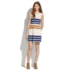 Shirred Silk Dress in Hazestripe - waist defined dresses - Women's DRESSES - Madewell