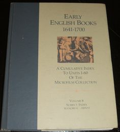 Reference book on Early English Books 1641-1700