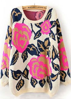 Rose Print Round Neck Sweater