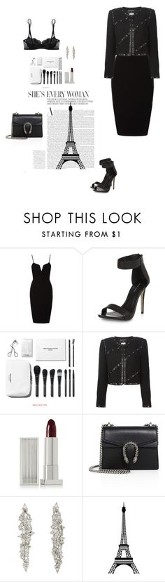 """black dress. chanel"" by djulia-tarasova ❤ liked on Polyvore featuring New Look, Chanel, Lipstick Queen, Gucci, Monique Péan, Lot 26 Studio and La Perla"