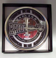 Oakland Raiders Wall Clock Chrome NFL Licensed Fan Souvenirs Man Cave 12in NIB in Sports Mem, Cards & Fan Shop, Fan Apparel & Souvenirs, Football-NFL   eBay