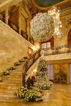 The Breakers, The Elms, and Marble House are decked out for holiday tours through Jan. 1. Above, the Marble House entrance foyer.