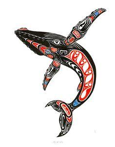NW Coastal Design of Humpback Whale breaching Haida Kunst, Arte Haida, Haida Art, Haida Tattoo, Totem Tattoo, Raven Tattoo, Native American Artwork, American Indian Art, Arte Tribal