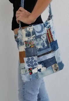 Day of the Dead Recycled Levi s jean handbag purse with denim tie dye  patches boho hippie 12bab2b6e0a