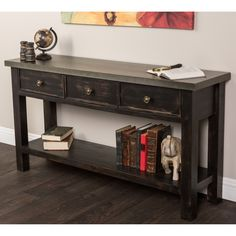 Give your living space a rustic look with this console table. It has an antiqued finish for a comfortable look that will complement many different types of styles and settings. A bottom shelf below three drawers adds stability and storage space.