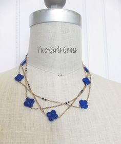 Antique gold chain with Alhambra style Lapis beads