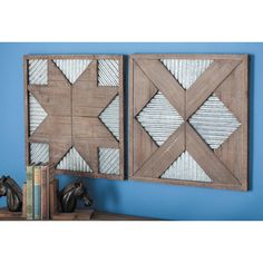 19 in. x 19 in. Corrugated Geometric Wood and Metal Wall Decor, Browns/Tans