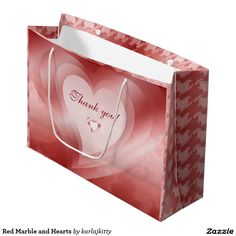 Red Marble and Hearts Large Gift Bag